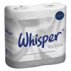 Whisper Silver Luxury 2ply Toilet Rolls ‑ Case of 40