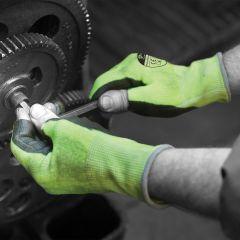 Matrix Green PU Coated Cut Resistant Fingerless Glove