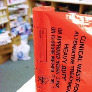 Orange Clinical Waste Sacks on a Roll ‑ 90L Medium Duty x 200 sacks