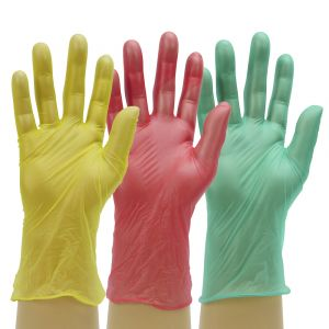 Powder Free Disposable Green Red Yellow Vinyl Gloves