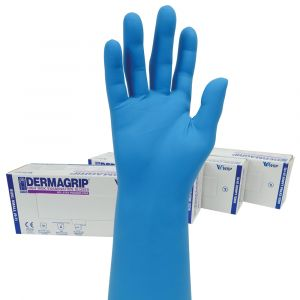 Dermagrip High Risk Powder Free Blue Latex Gloves