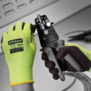 Matrix Green PU Palm Coated Cut Resistant Glove