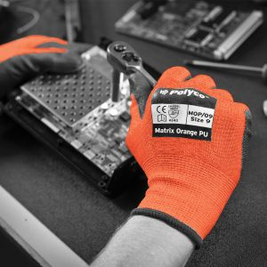 Matrix Orange PU Palm Coated Cut Resistant Glove