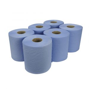 Essentials 2ply Blue Embossed Centre Feed Rolls ‑ Case of 6