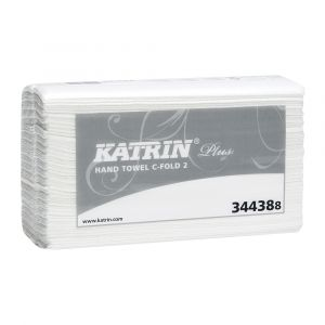 Katrin Plus 2 ply White C Fold Hand Towels ‑ Case of 2400
